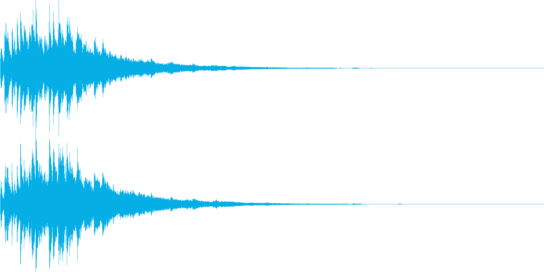 キラキラしたチャイム音の再生済みの波形