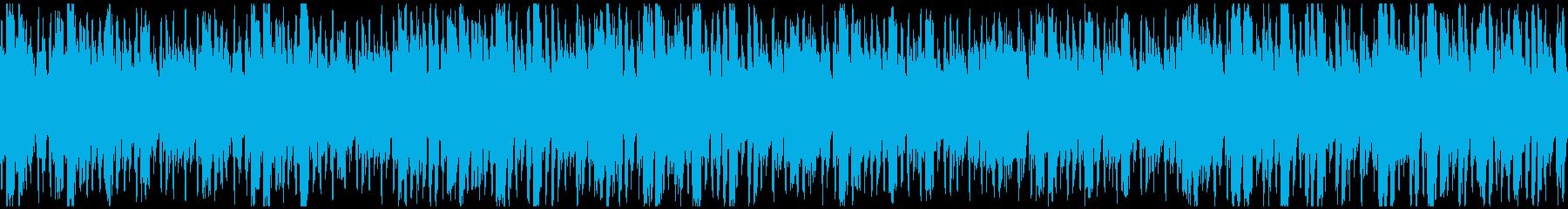 軽快で疾走感のあるエレクトロBGMの再生済みの波形