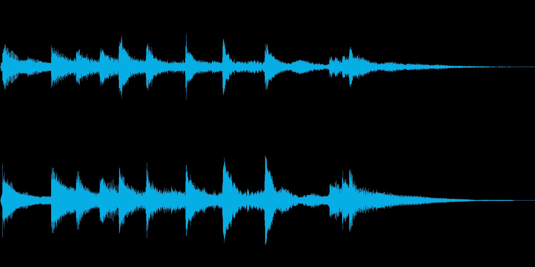 古風で風流な琴でアルペジオ、締めくくりの再生済みの波形