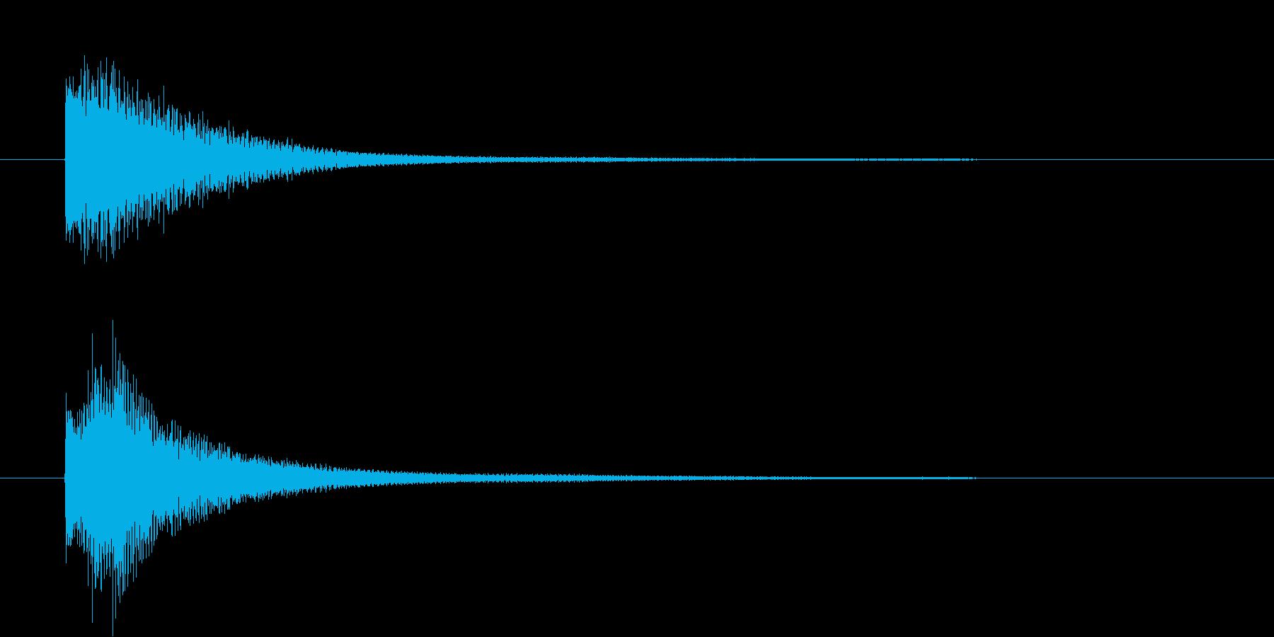 視聴者の意識を向けさせる注意喚起の効果音の再生済みの波形