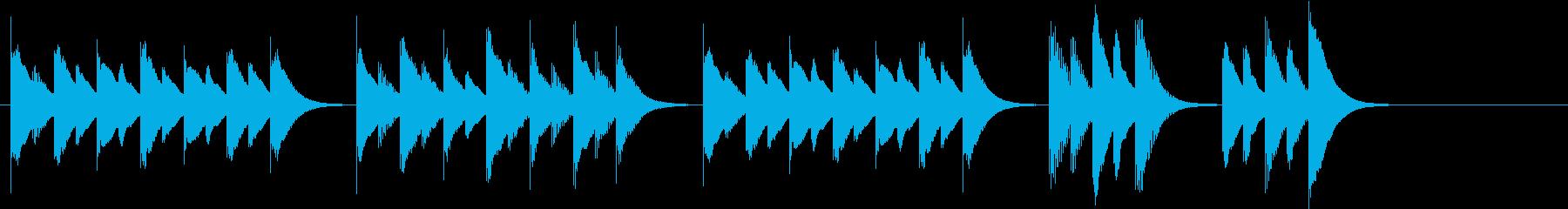 木琴で作った明るく軽快で短い曲の再生済みの波形