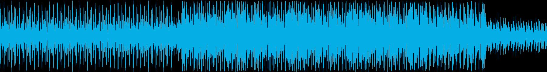 ノリの良いハウスビートとシンセメロディの再生済みの波形