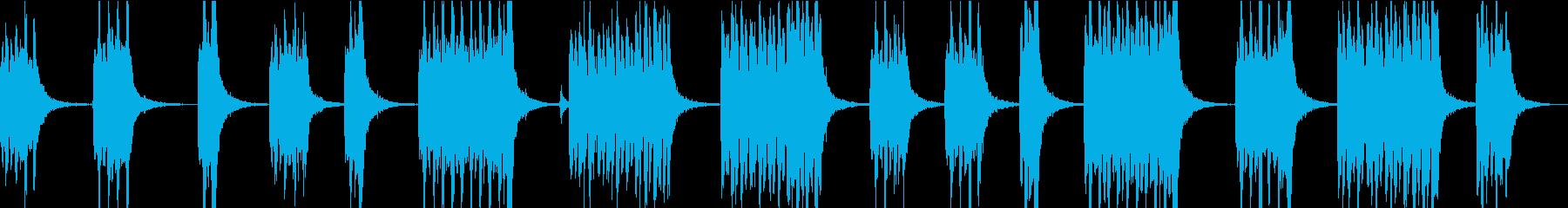 慌ただしくあたふたするようなサウンドの再生済みの波形