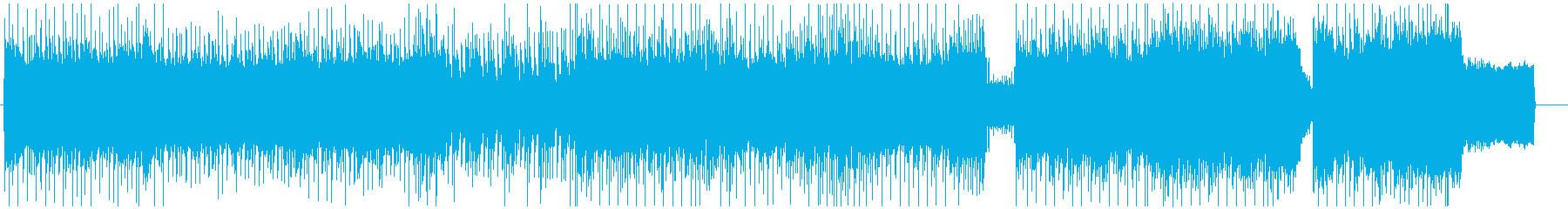 緊迫感あふれるロックBGMの再生済みの波形