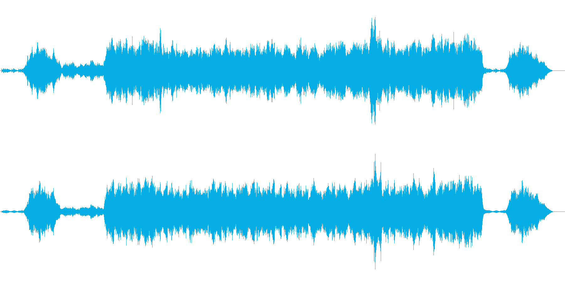 どこか切ないオーケストラの楽曲の再生済みの波形