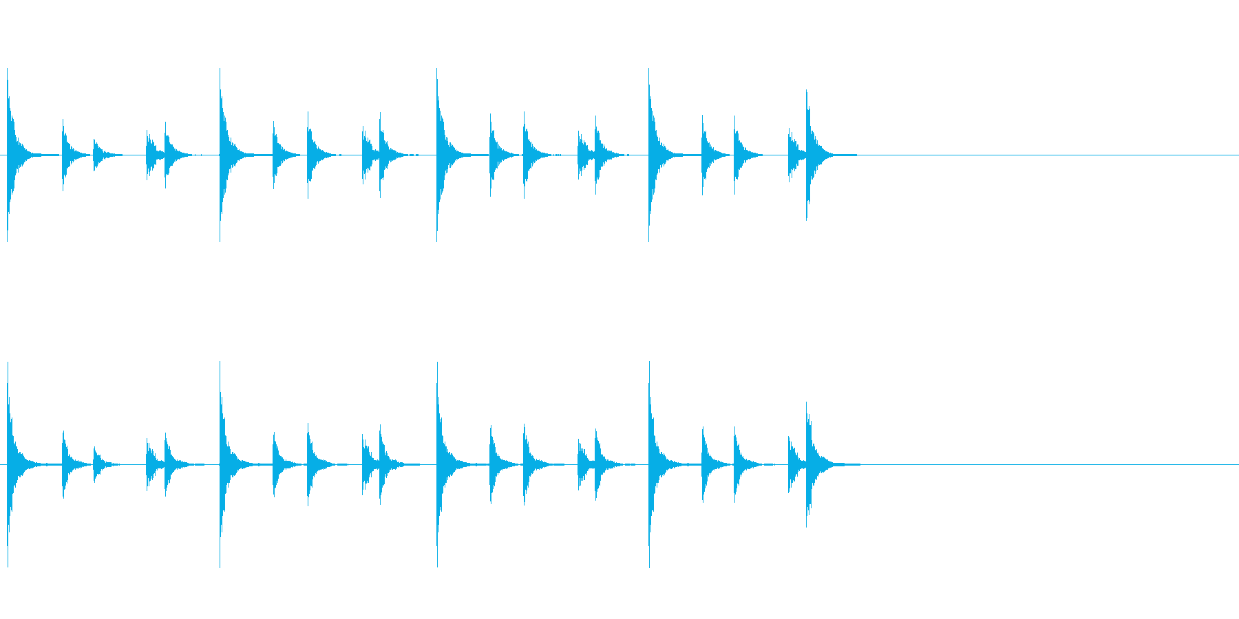 相撲などの触れ太鼓「大拍子」フレーズ音1の再生済みの波形
