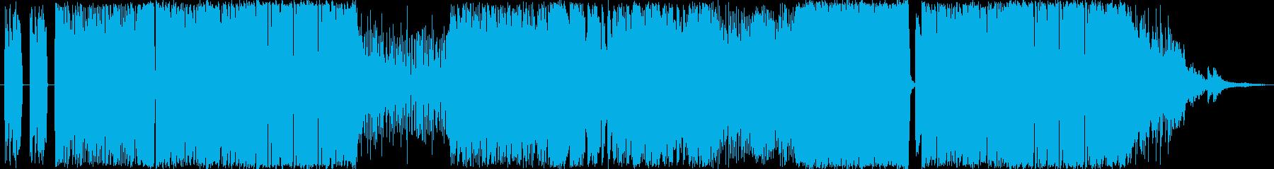 激しいロックサウンドの格闘ゲーム用OPの再生済みの波形