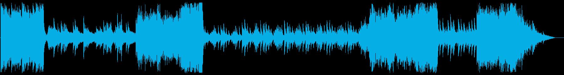 オーケストラとピアノの戦闘曲風BGMの再生済みの波形