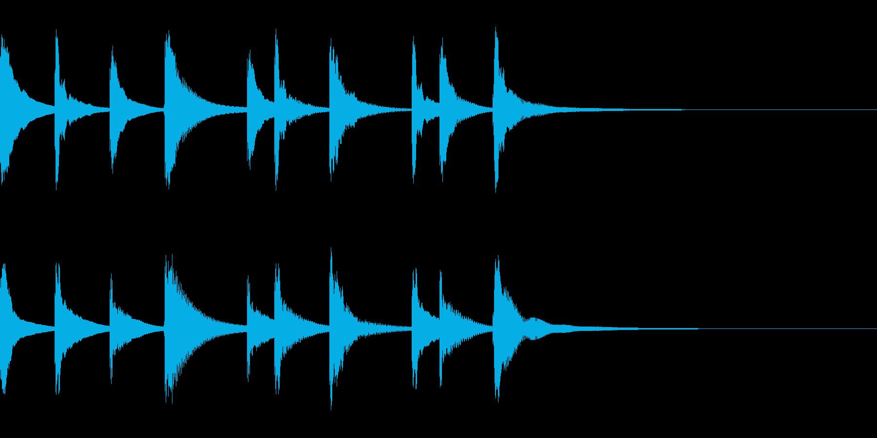シロフォンの悲しい5秒のジングルの再生済みの波形