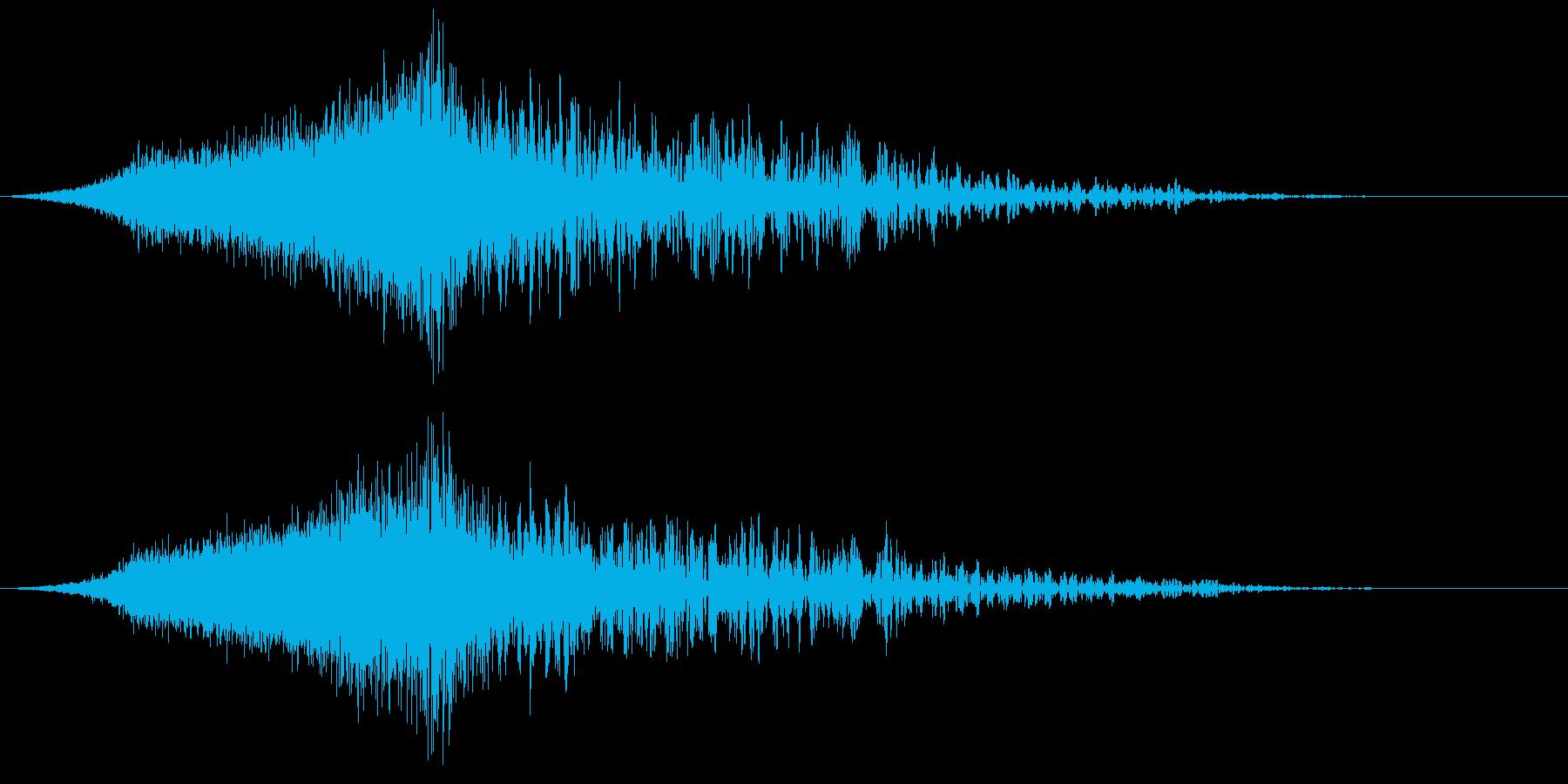 動画のオープニングに使える衝撃音の再生済みの波形