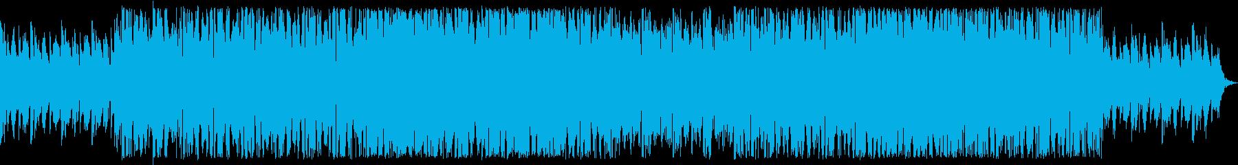 激しいテクノロック調のBGMの再生済みの波形
