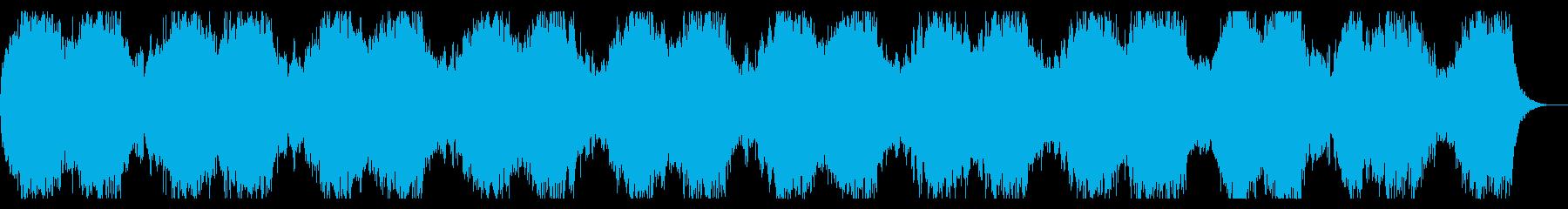 淡々としたダークな背景、緊迫感あるBGMの再生済みの波形