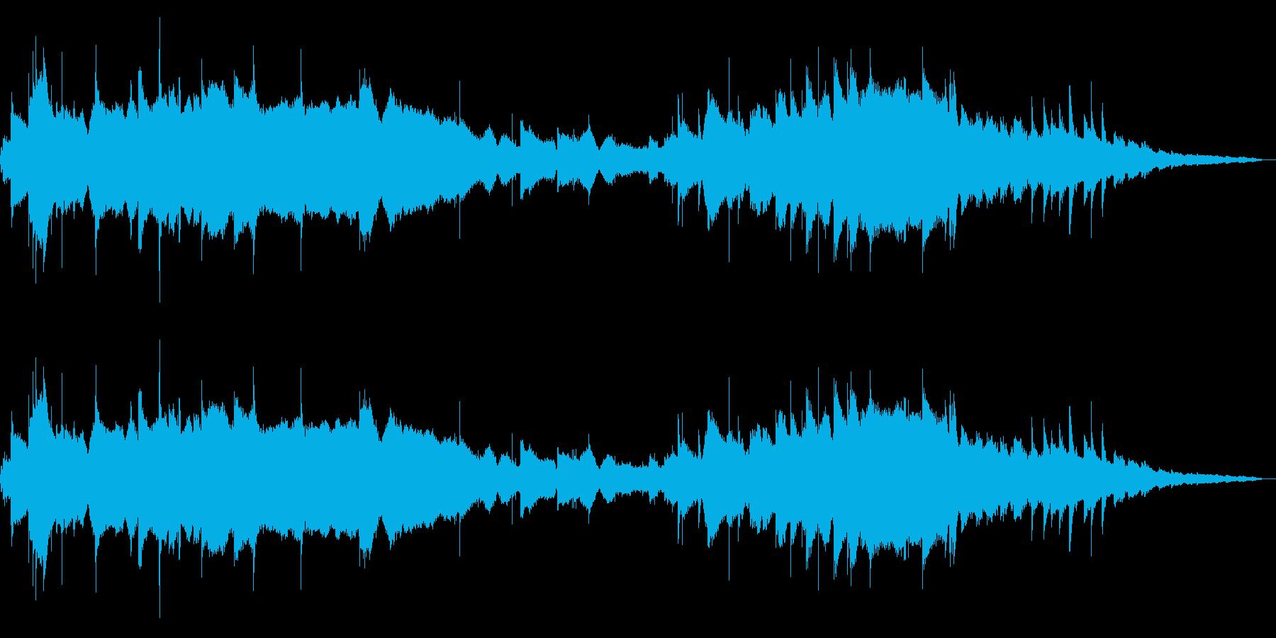 メランコリックな木琴と風の音の再生済みの波形