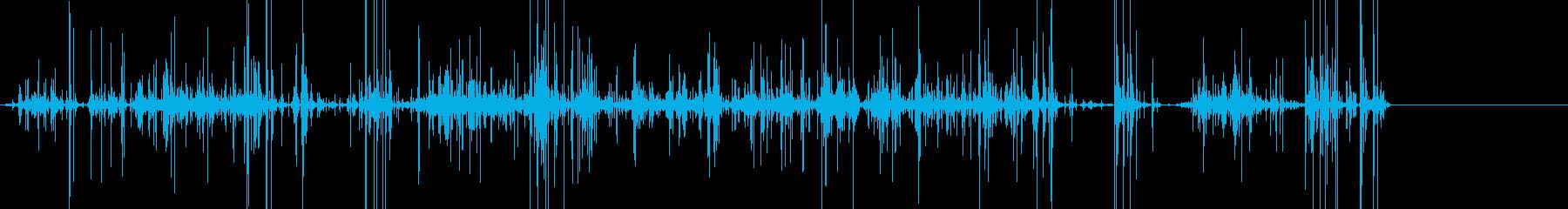 ガラガラ、カシャカシャ、クルミが混ざる音の再生済みの波形
