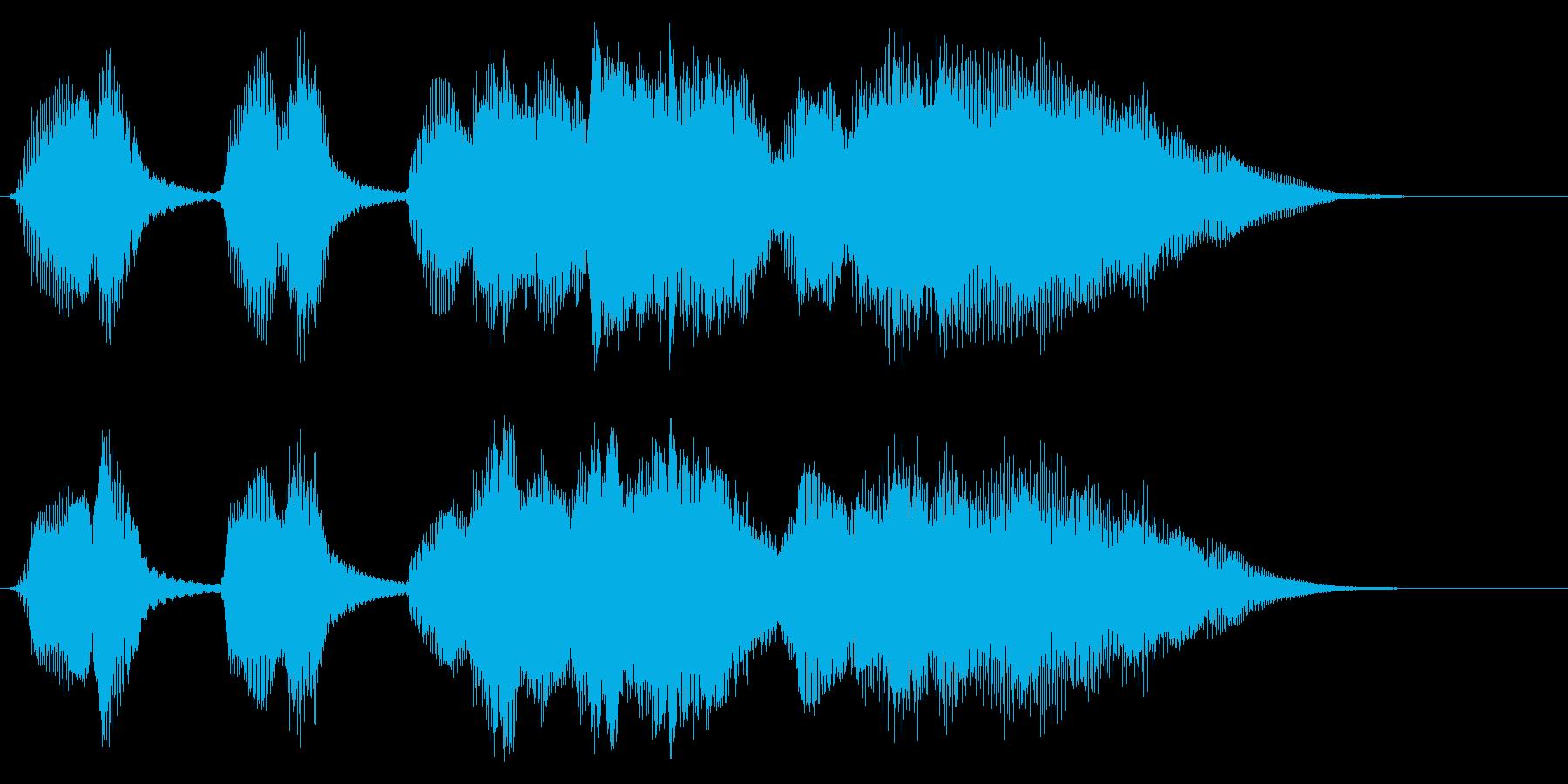 木管とマリンバののんびりとしたジングルの再生済みの波形