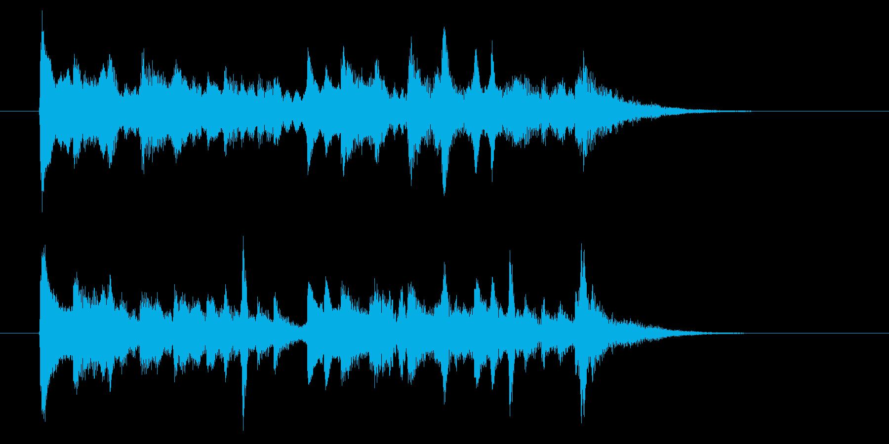 ゆったり和風な弦楽器・打楽器サウンドの再生済みの波形