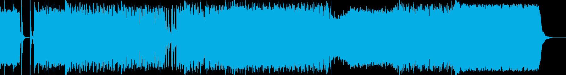 次々と展開する激しいギターロックの再生済みの波形