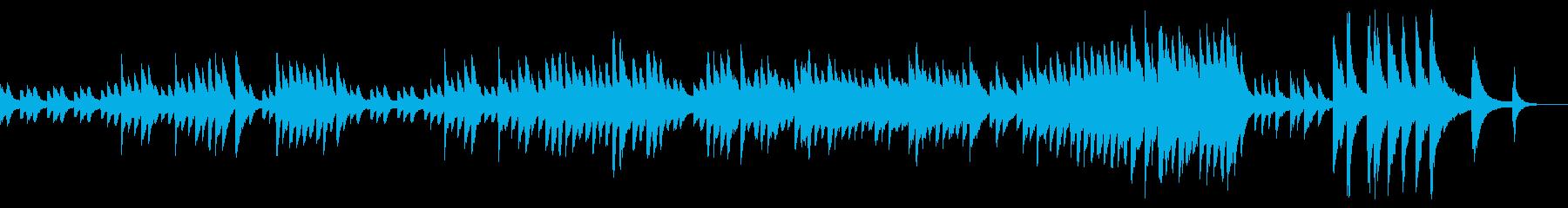 ゆっくり、淡々とした空気感のあるピアノ曲の再生済みの波形