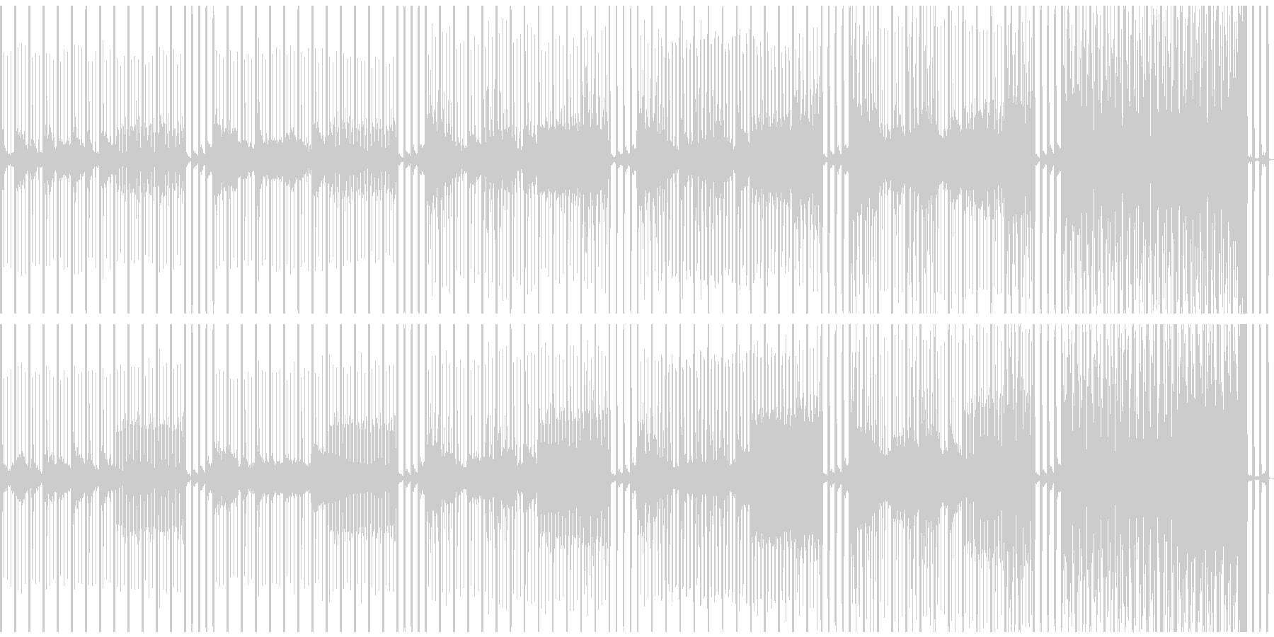 心音と時計で高まる期待感のあるBGMの未再生の波形