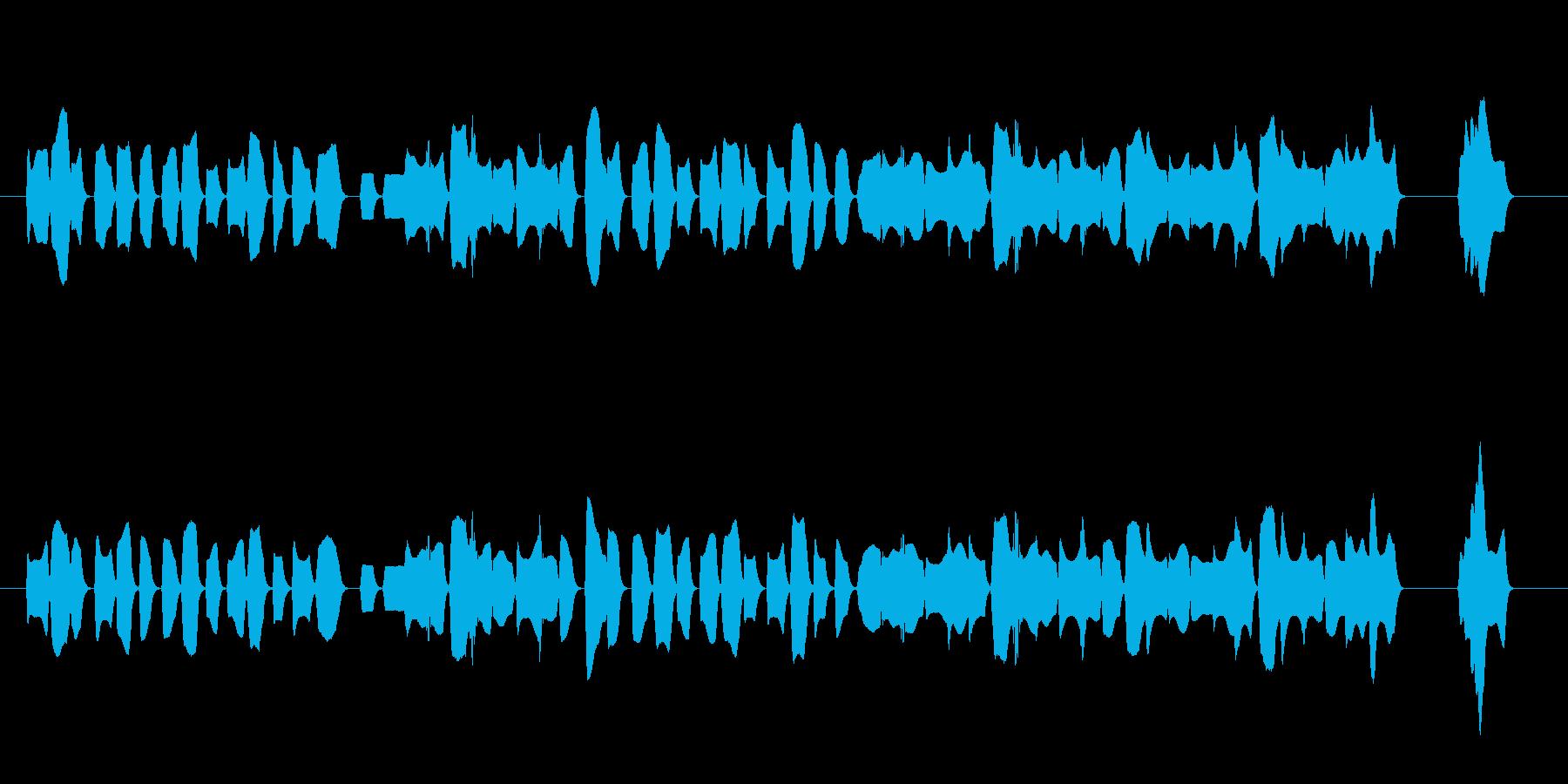 陽気なオカリナの舞曲風の少し長めジングルの再生済みの波形