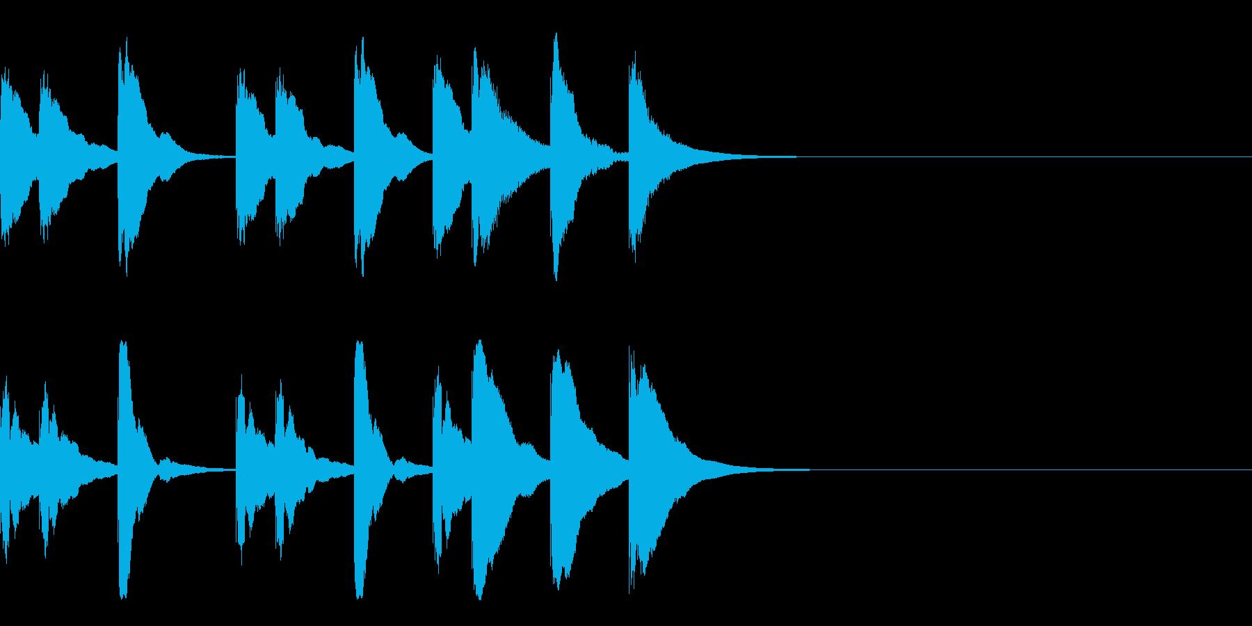 木琴の短い3秒ジングルの再生済みの波形