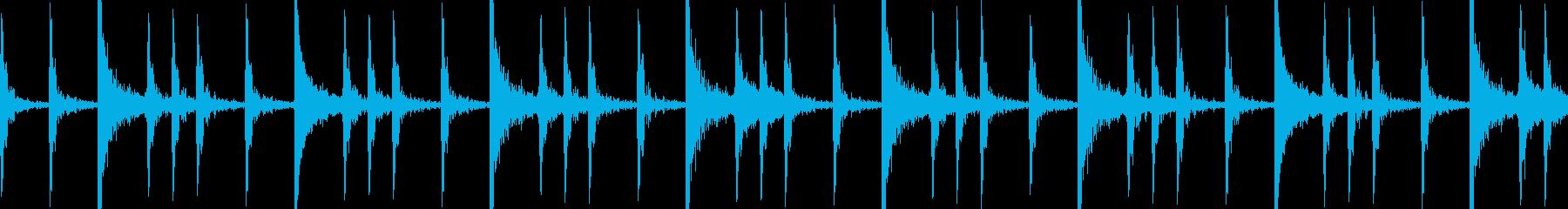 メタル系ドラムの8ビートの再生済みの波形