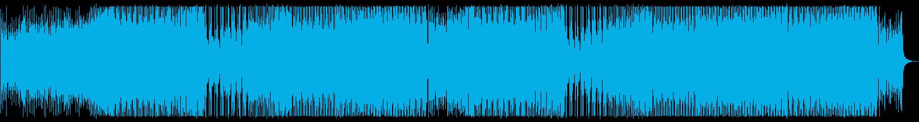 元気で活気ある力強いシンセサイザーの曲の再生済みの波形