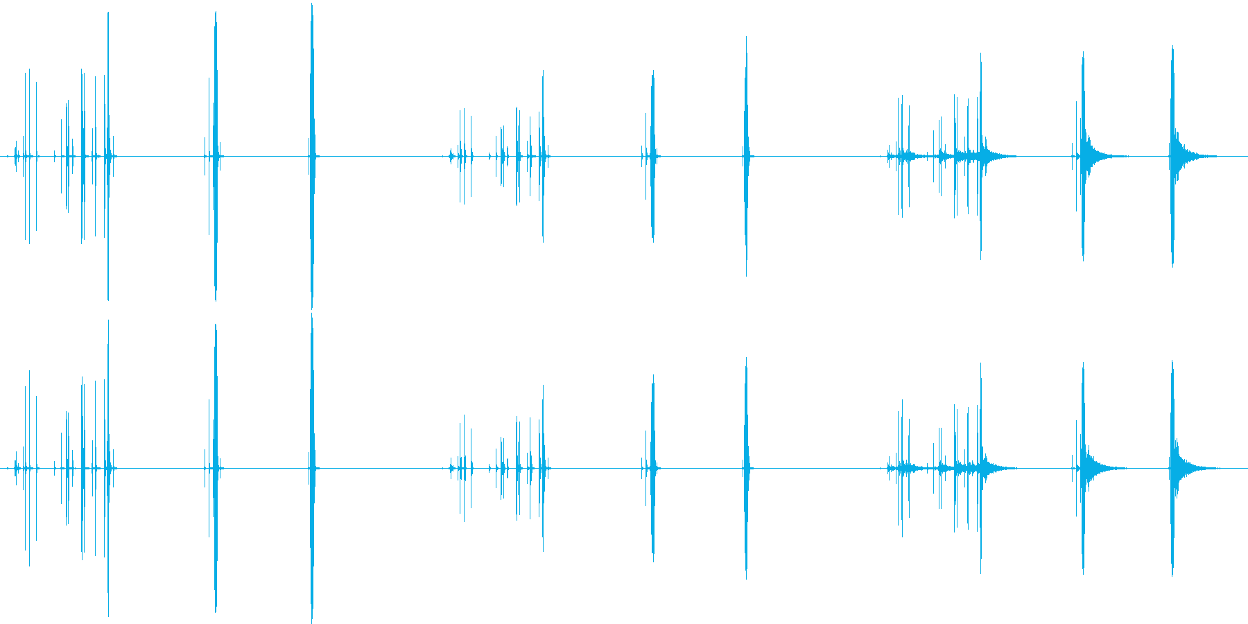 テープ、ショートプル、3バージョン...の再生済みの波形
