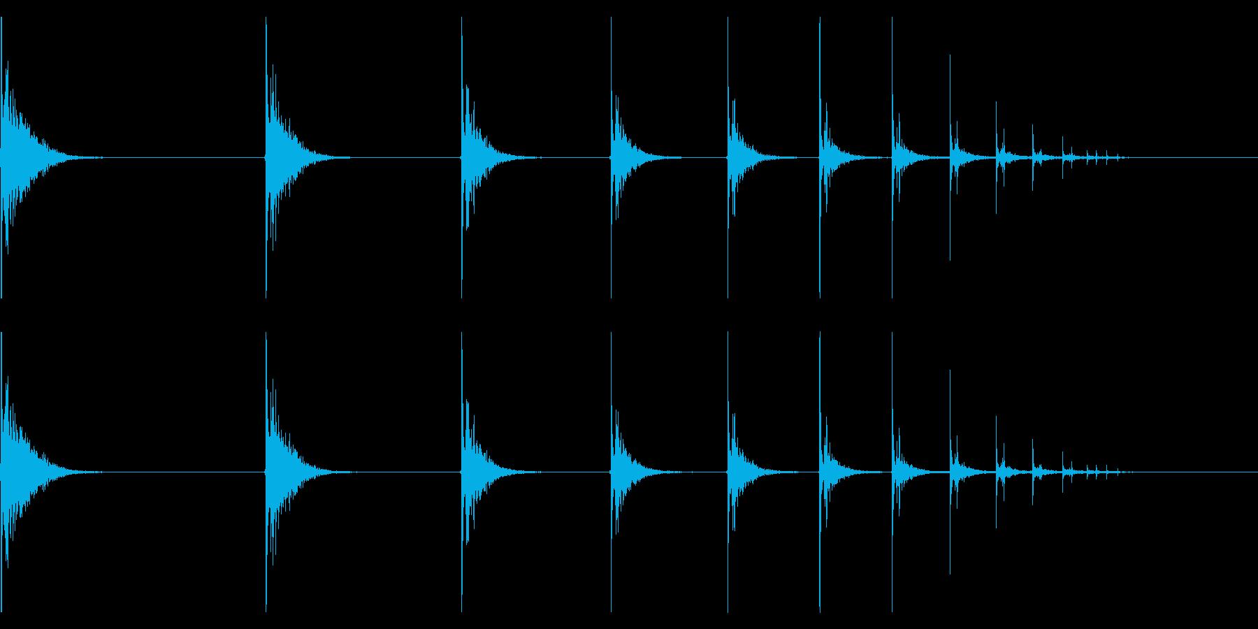 【生録音】カラーボールが跳ねる音の再生済みの波形