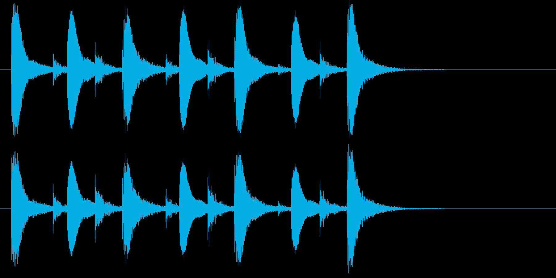 インド桶太鼓Dhol(ドール)フレーズ音の再生済みの波形