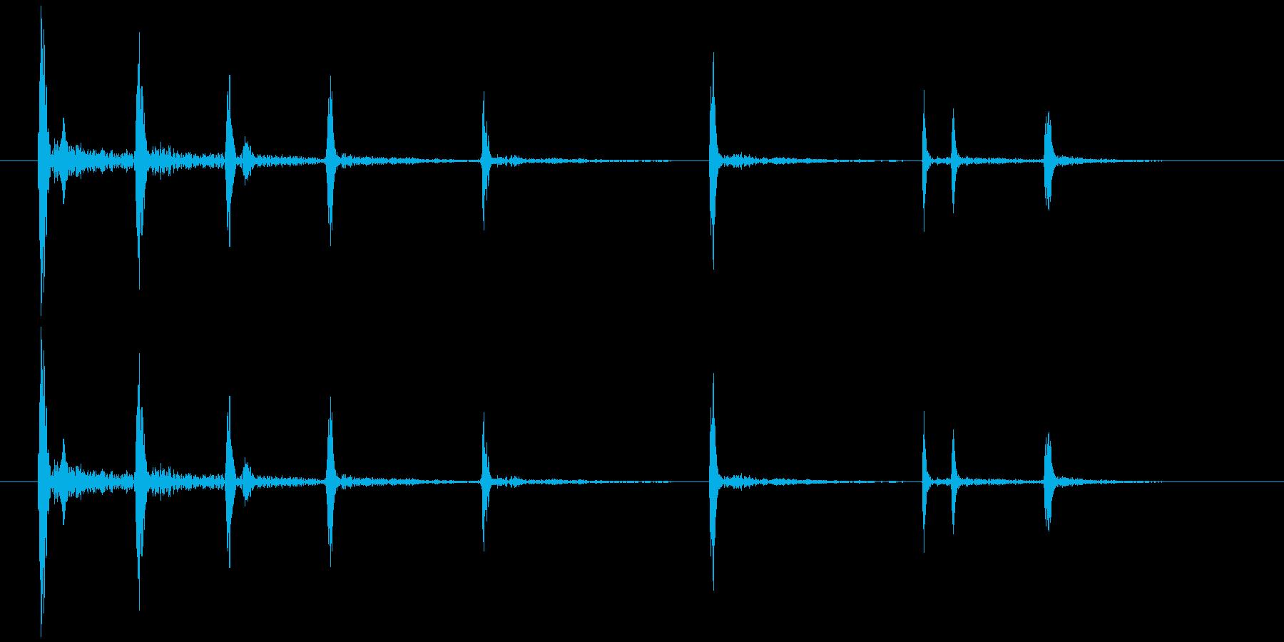 ハンドグリッパーのキリキリときしむ音の再生済みの波形