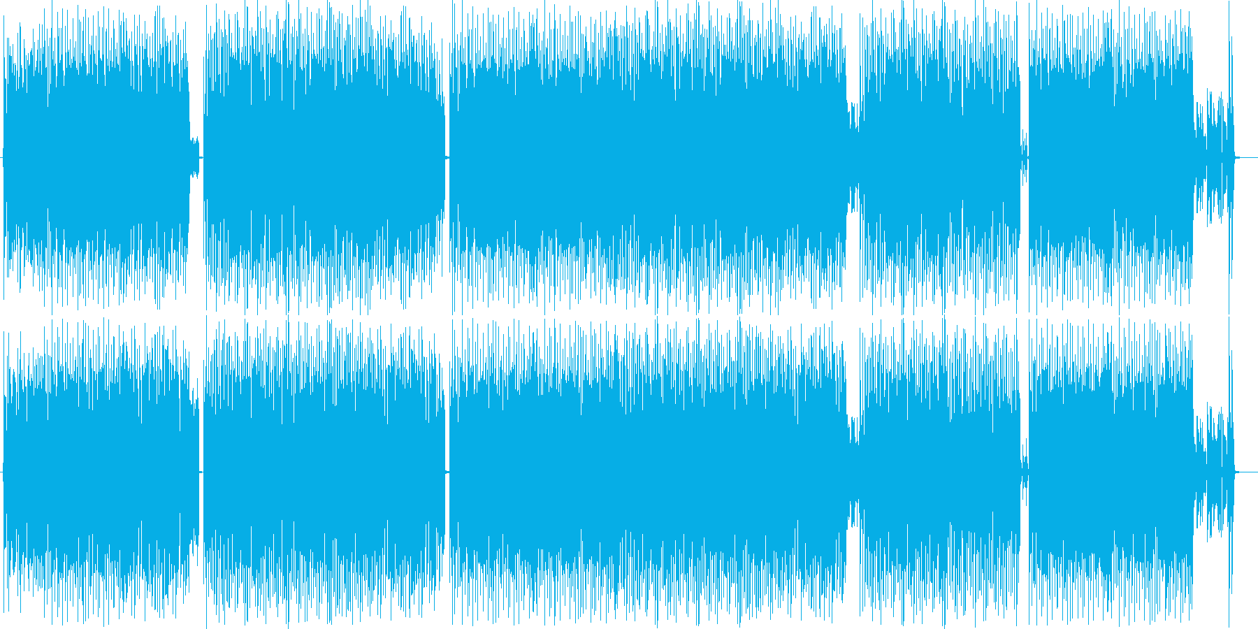 スピーディーで軽快なユーロビートの再生済みの波形