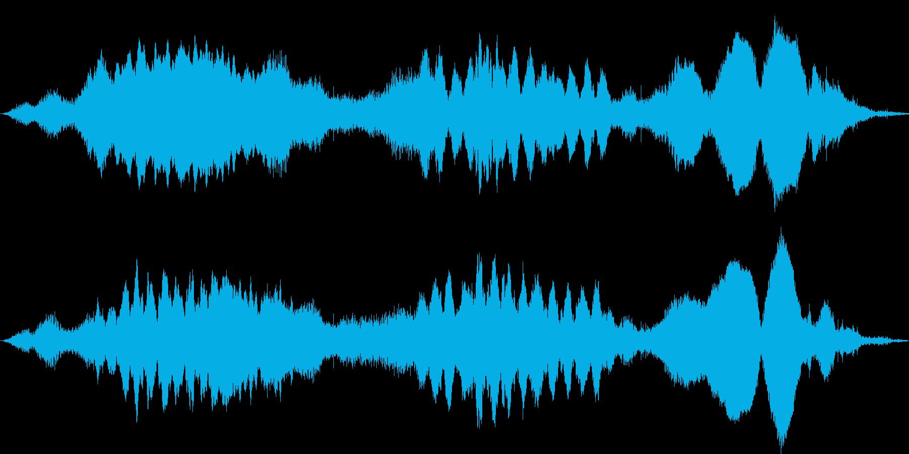 海の底まで落ちていく雰囲気のホラーBGMの再生済みの波形