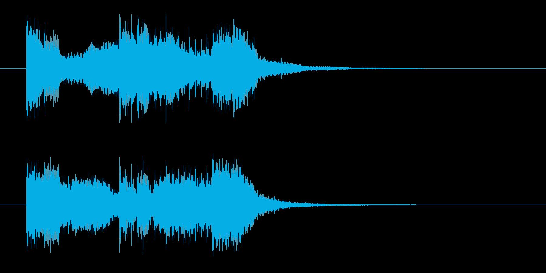 激しいロックのジングル曲、サウンドロゴの再生済みの波形