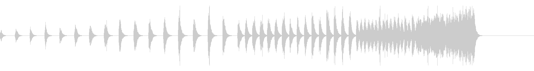 徐々にテンポが上がる連続クラップ、拍手の未再生の波形