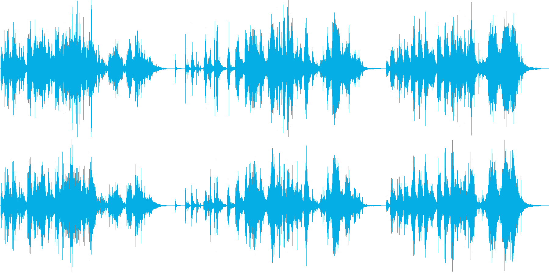 スコールの降るような雰囲気のピアノ曲の再生済みの波形