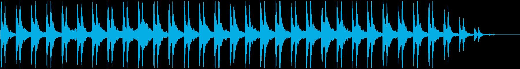 リズムのないゆったりしたピアノ曲の再生済みの波形