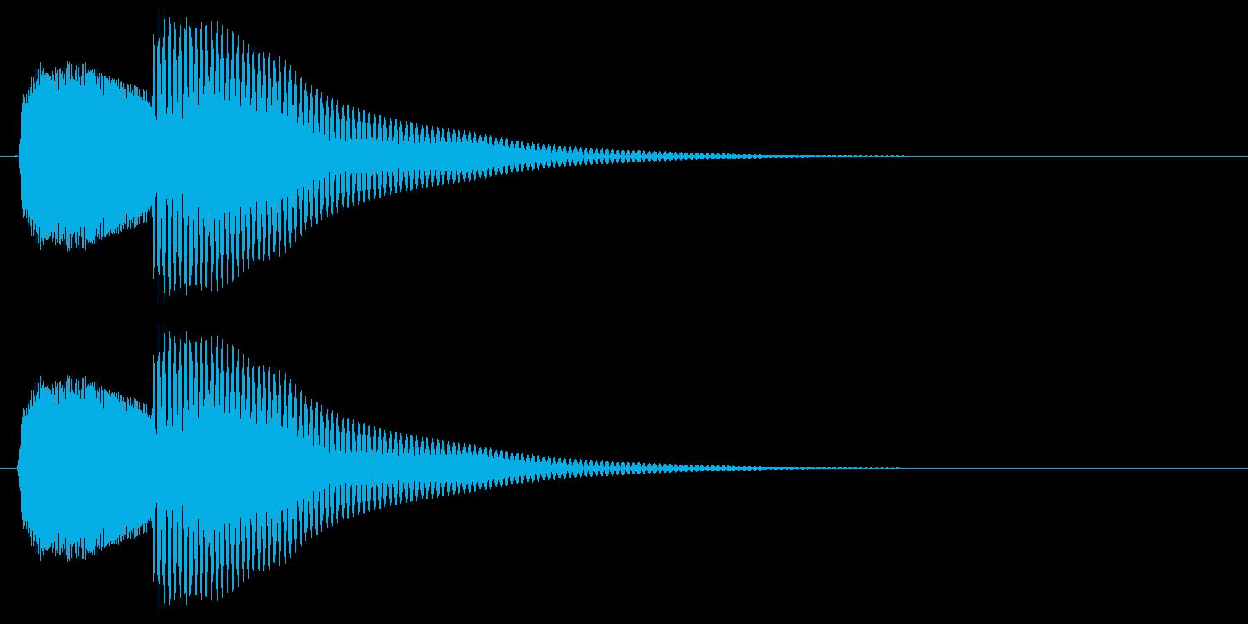 ポカン、とコミカルで明るい音の再生済みの波形
