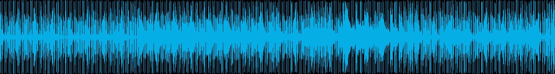 ドラムとベース主体のファンクのループの再生済みの波形