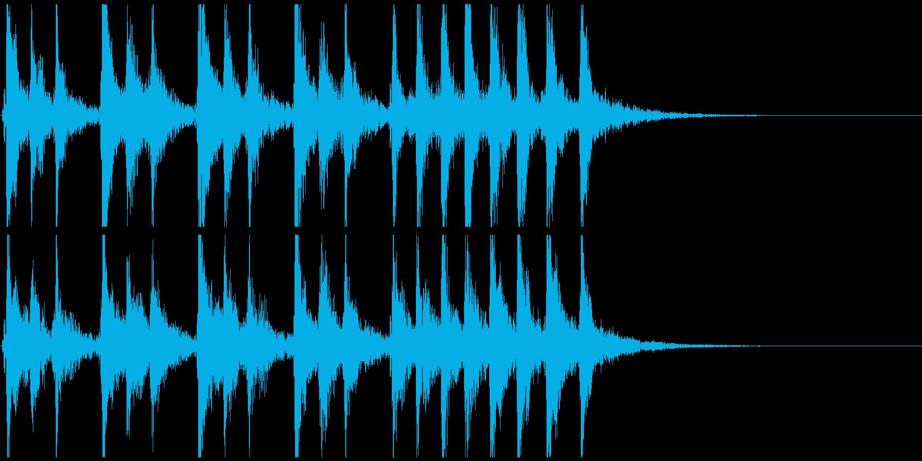 チクタク時計の音とピチカートのジングルの再生済みの波形