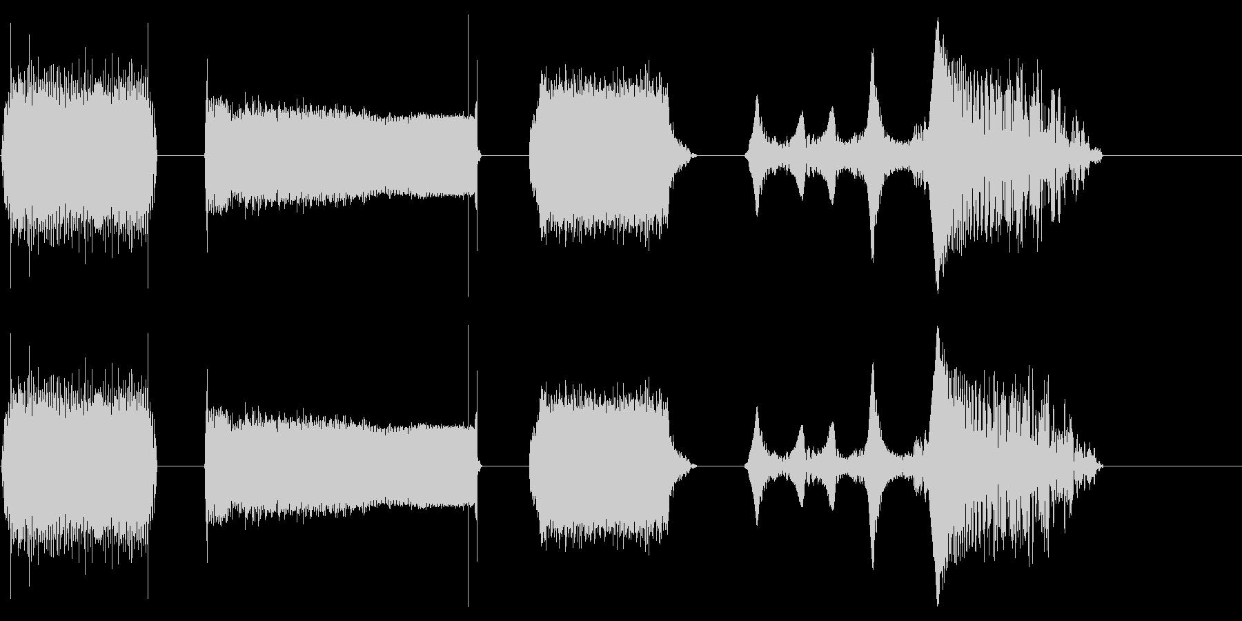 電源、レーザー、アップおよびアウトX4の未再生の波形