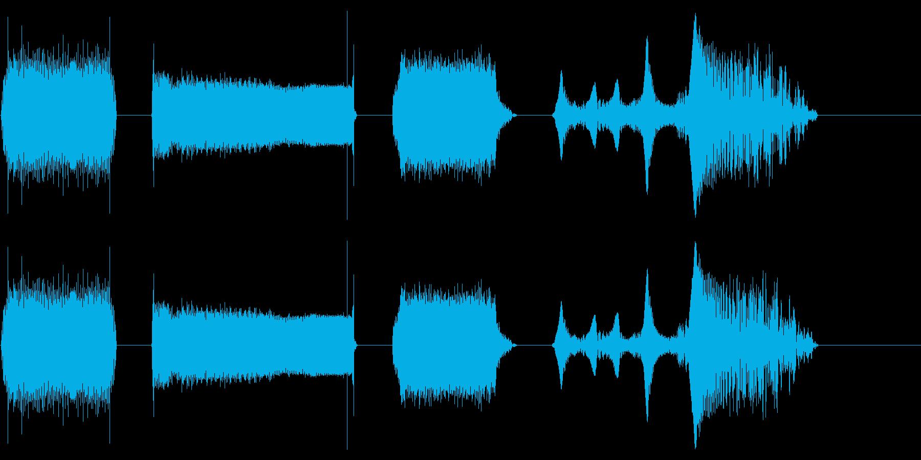 電源、レーザー、アップおよびアウトX4の再生済みの波形