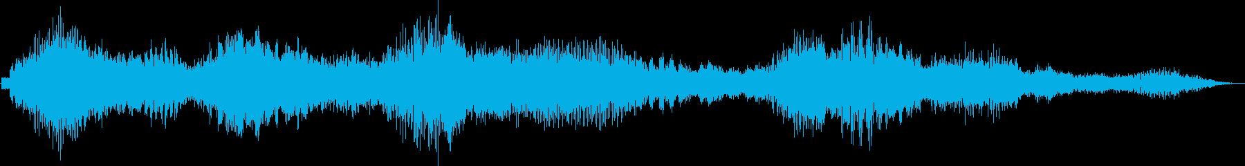続く不気味なドローンの管状中空ノイズの再生済みの波形