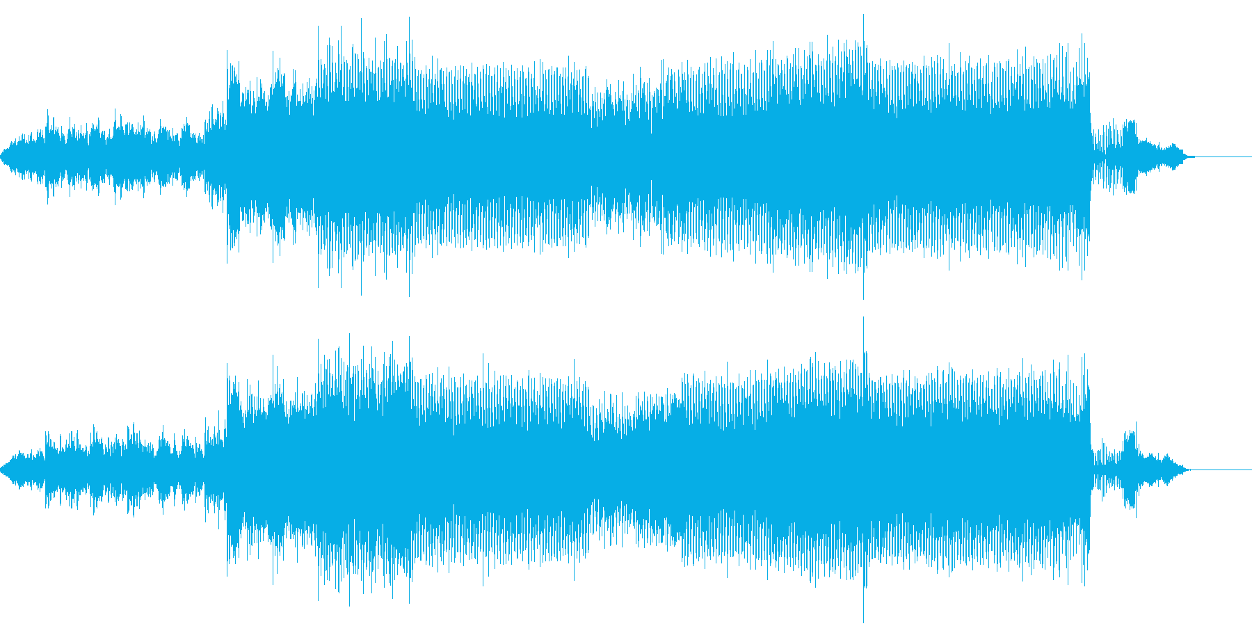 シーケンスフレーズ満載のデジタルビートの再生済みの波形