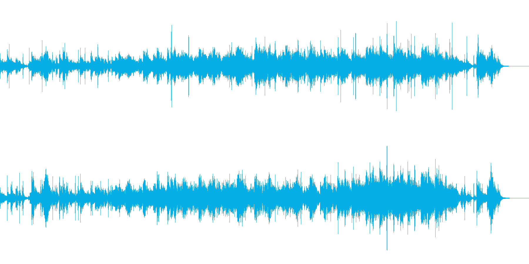水、ノイズの音などで構成されたホラーB…の再生済みの波形