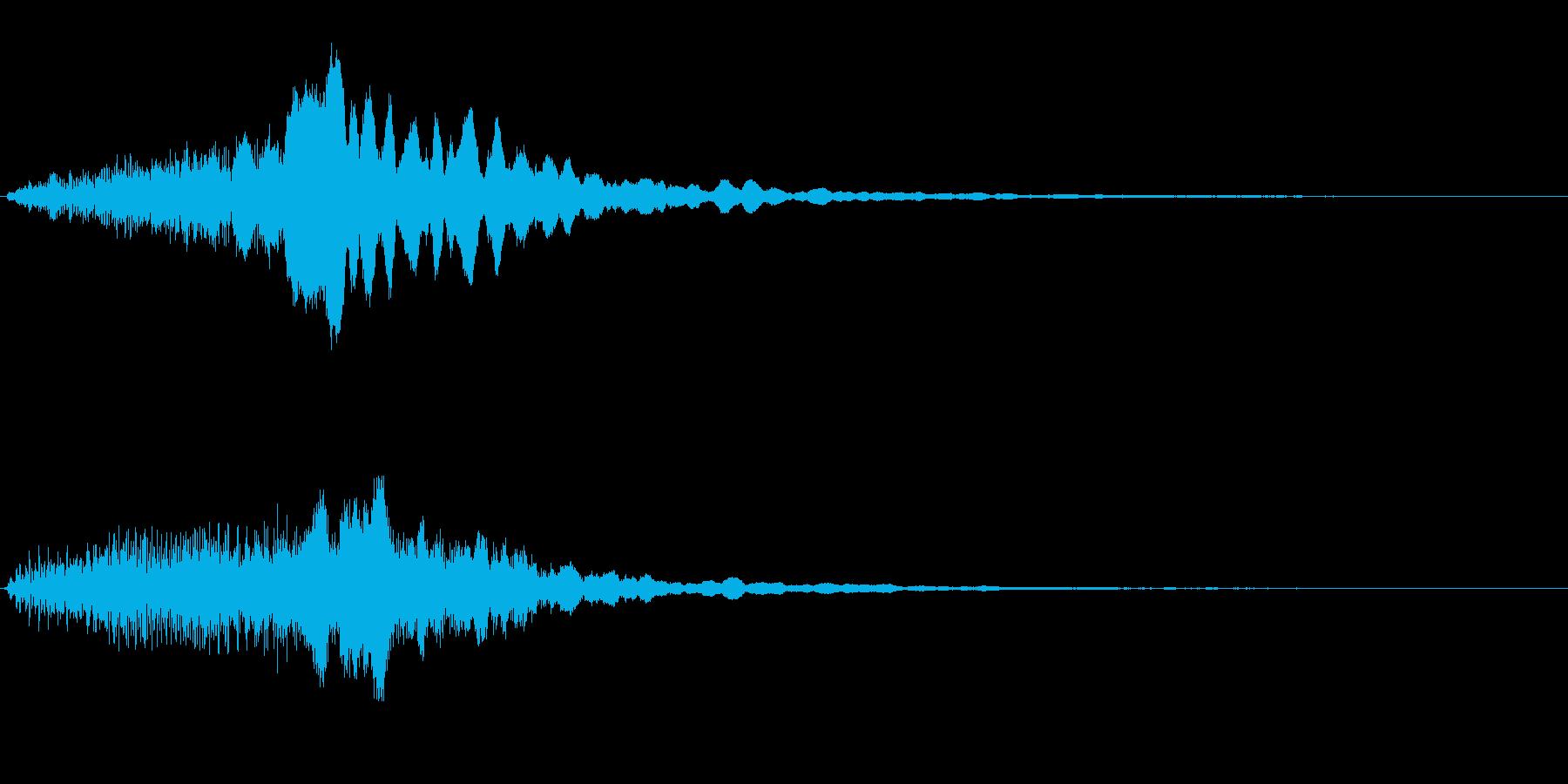 風をイメージした音と流れるハープの再生済みの波形