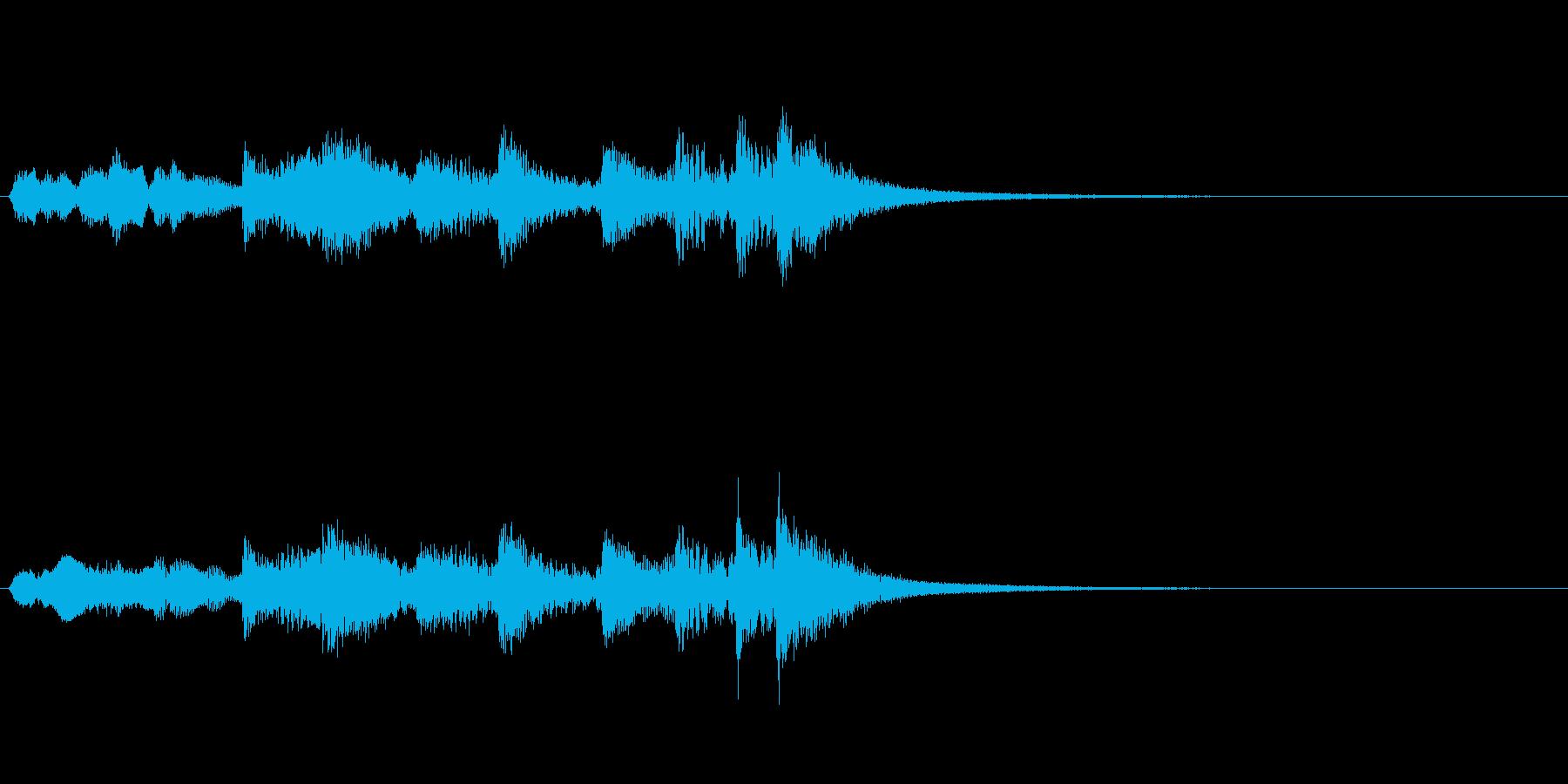 尺八、琴、太鼓と拍子木の音の再生済みの波形