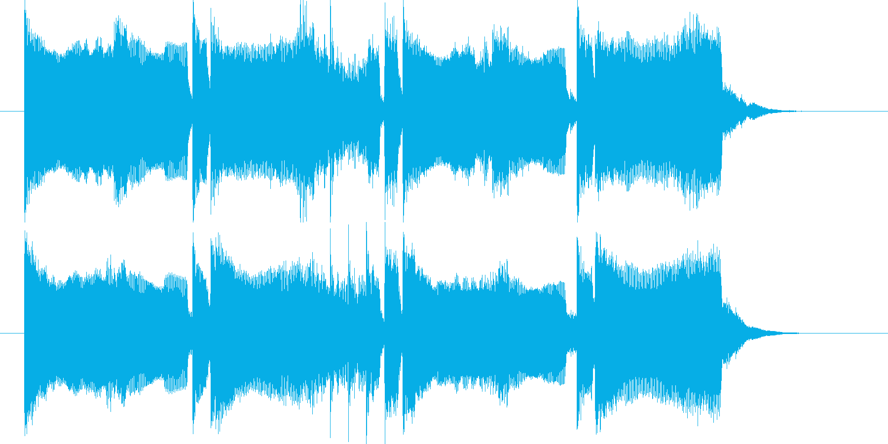 シンセとドラムの音で構成された短いSEの再生済みの波形