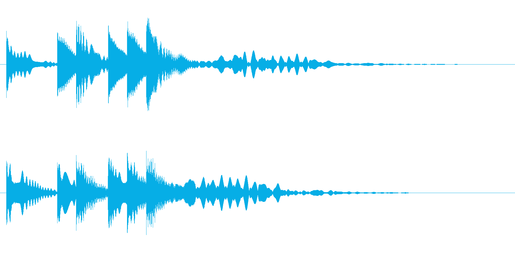 オルゴール音のミステリアスな場面転換音の再生済みの波形