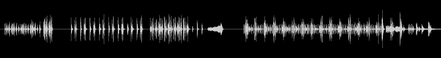 リズミカルで、曲調がコロコロと変わる音楽の未再生の波形